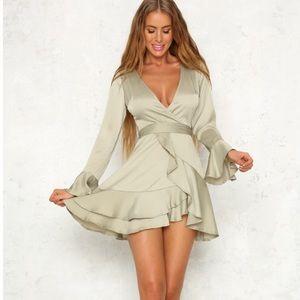 Hello Molly Olive Green Ruffle Wrap Dress Size L
